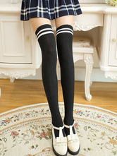 Anime Costumes AF-S2-582929 Halloween Two-Tone Over-the-Knee Cotton Stockings for Women