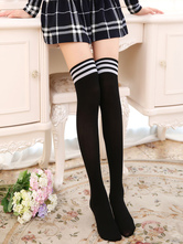 Anime Costumes AF-S2-582923 Halloween Black Over-the-Knee Stripes Cotton Trendy Stockings for Women