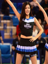 Anime Costumes AF-S2-582985 Halloween Black Cropped Cheerleader Polyester Costume