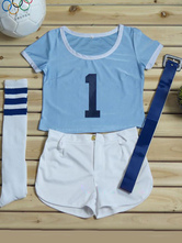 Anime Costumes AF-S2-582965 Halloween Multicolor Number Print Polyester Cheerleader Costume