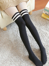 Anime Costumes AF-S2-582917 Halloween Black Over-the-Knee Stripes Cotton Stockings for Women