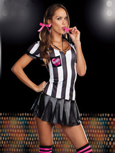 Anime Costumes AF-S2-582939 Halloween Two-Tone Stripes Soccer Referee Polyester Costume for Women