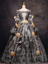 AF-S2-583813 Gray Vintage Costume Rococo Lace Ruffles Off The Shoulder Flowers Beaded Ball Gown Dress