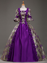 AF-S2-583795 Victorian Purple Queen Royal Court Bow Synthetic Costumes For Women