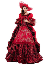 AF-S2-583797 Victorian Burgundy Print Royal Court Bow Synthetic Costumes For Women