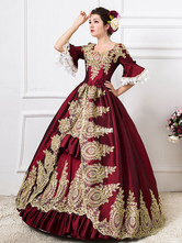 AF-S2-583817 Burgundy Retro Costume Rococo Ruffles Bell Half Sleeve Print Ball Gown Dress