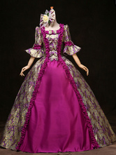 AF-S2-583801 Victorian Multicolor Print Royal Court Synthetic Costumes For Women