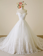 Ivory Wedding Dress Off-The-Shoulder Lace Tulle Wedding Gown