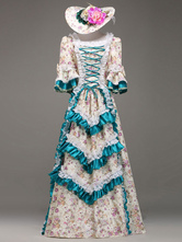 AF-S2-583811 Multicolor Print Tiered Rococo Court Dress Synthetic Costume