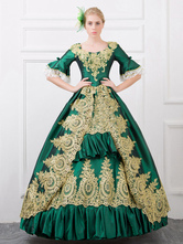 AF-S2-583815 Green Retro Costume Baroque Ruffles Ball Gown Printed Slim Fit Dress