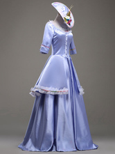 AF-S2-583809 Rococo Light Sky Blue Court Tiered Dress Synthetic Costume