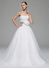 Ivory Wedding Dress Strapless Sash Flowers Taffeta Organza Wedding Gown