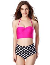 Pois multicolor elegante Bikini Push Up Lycra Spandex costume da bagno