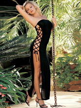 Black Maxi Dress Strapless Cut-Out Lace Up Split Acrylic Dress