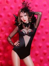 AF-S2-584629 Club Dance Costume Bat Low-Cut Matte Satin Costume for Women