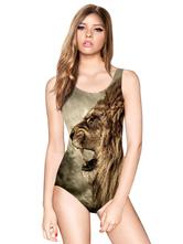 Traje de baño multicolor correas sin espalda Animal impresión Spandex traje de baño