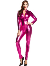 Anime Costumes AF-S2-585247 Halloween Rose Red Zentai Sexy Shiny Metallic Jumpsuit for Women