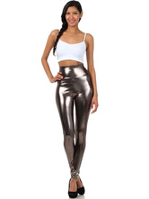 AF-S2-585221 Halloween Gray Leggings Shiny Metallic Skinny Pants for Women
