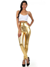 Anime Costumes AF-S2-585227 Halloween Gold Leggings Shiny Metallic Skinny Pants for Women