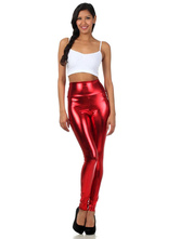 Anime Costumes AF-S2-585223 Halloween Red Leggings Chic Shiny Metallic Skinny Pants for Women