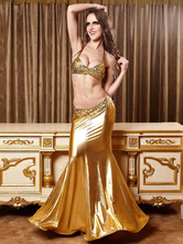 AF-S2-585885 Halloween Gold Mermaid Costume Halter Cropped Polyester Costume