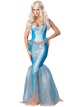 Anime Costumes AF-S2-585875 Halloween Sky Blue Mermaid Costume Princess Polyester Costume