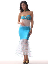 Anime Costumes AF-S2-585889 Halloween Blue Mermaid Costume Strapless Backless Polyester Costume