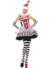 AF-S2-585905 Halloween Two-Tone Vampire Costume Stripes Bows Polyester Devil Costume for Women