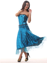AF-S2-585895 Halloween Blue Mermaid Costume Strapless Chic Polyester Costume