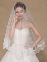 Ivory Wedding Bridal Veil Applique Semi-Sheer Lace Veil(150cm Length)