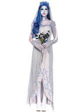 AF-S2-585901 White Ghost Costume Polyester Specter Costume for Women