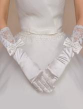 Casamento marfim luvas luvas de renda de cotovelo-comprimento de arco nupcial