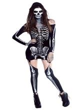 AF-S2-585897 Halloween Black Skeleton Costume Garter Belt Polyester Skull Costume