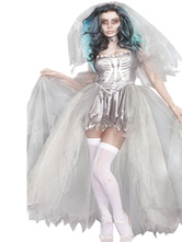 AF-S2-585899 White Ghost Costume Polyester Skeleton Costume for Women