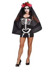 AF-S2-585903 Black Devil Costume Polyester Skeleton Costume for Women