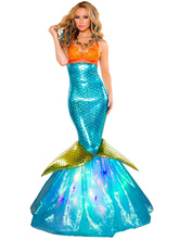 AF-S2-585879 Halloween Blue Mermaid Costume Princess Polyester Costume