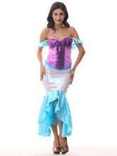 AF-S2-585893 Halloween Multicolor Mermaid Costume Off-The-Shoulder Backless Polyester Costume