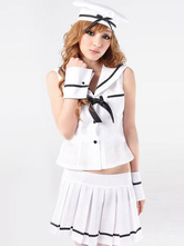 AF-S2-585849 Halloween White Stewardess Costume Bow Pleated Polyester Costume