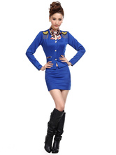 AF-S2-585831 Halloween Blue Stewardess Costume Sexy Slim Fit Polyester Costume