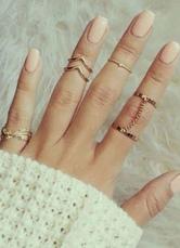 Forma geométrica Chain Link anéis metálicos de anéis de ouro para as mulheres