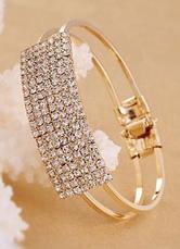 Gold Bracelet Rhinestone Metal Square Bracelet for Women