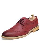 Chaussures en cuir rouge a souligné Toe Lace Up chaussures de sport pour hommes