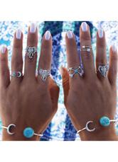 Silver Rings Elephant Print Embossed Chic Metal Rings for Women