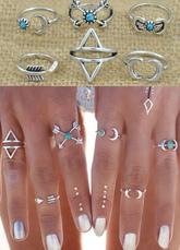 Knuckle argent anneaux bagues motif géométrique pour femmes