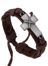 Brown Bracelet Cross Faux Leather Bracelet for Men