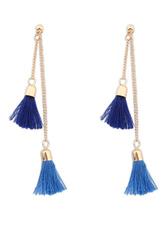 Blue Earrings Fringe Boho Metal Earrings