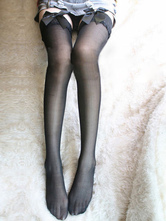 AF-S2-586837 Halloween Black Stockings Lace Bow Spandex Stockings for Women