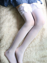 AF-S2-586839 Halloween White Stockings Lace Bow Spandex Stockings for Women