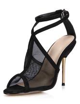 Black Sandals Peep Toe Mesh Heels for Women