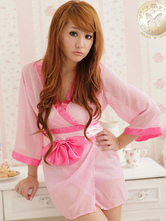 Anime Costumes AF-S2-588815 Halloween Sexy Geisha Costume Pink Kimono Deep-V Bow Polyester Costume For Women